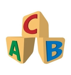 Cubes with letters abc cartoon icon vector