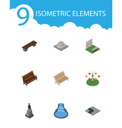 isometric city set of garden decor bench vector image vector image