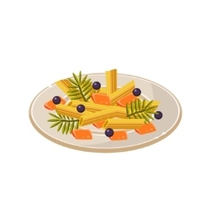 Noodles on the Plate Food vector image