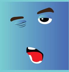 sleepy cartoon face vector image