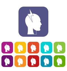 Lightning bolt inside head icons set flat vector
