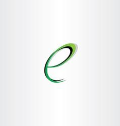 small letter e green black logo vector image