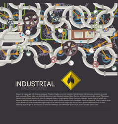industrial pipe system background vector image vector image