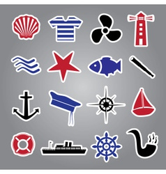 nautical icon stickers collection eps10 vector image