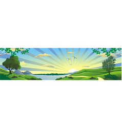 panorama landscape - a view of the lake from the vector image