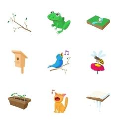 Season spring icons set cartoon style vector image vector image