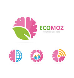 set of brain logo combination education and eco vector image vector image