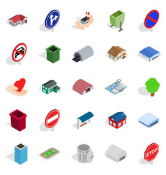town buildings icons set isometric style vector image vector image