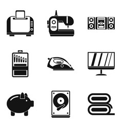 household appliances icons set simple style vector image vector image