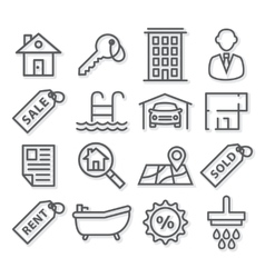 Real Estate Line Icons vector image vector image