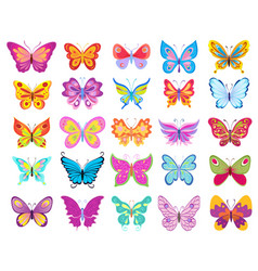 set of cartoon colorful butterflies drawing on vector image vector image