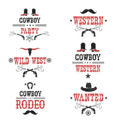set of cowboy labels and western symbols vector image vector image