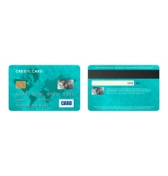Turquoise credit card two sides in realistic style vector image