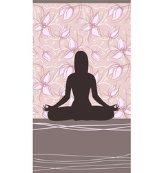 Yoga Card with Meditating Woman vector image