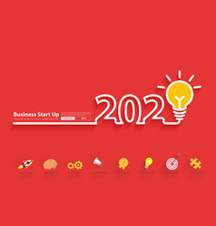 2020 new year with creative light bulb idea vector image