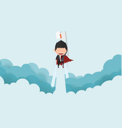 A happy face superhero businessman on skystartup vector