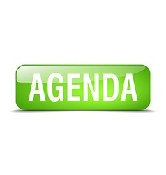 Agenda green square 3d realistic isolated web vector