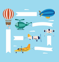 airplane and plane a helicopter and a quadcopter vector image