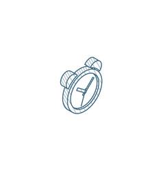 alarm clock isometric icon 3d line art technical vector image