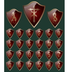 Alphabet on the shields vector image