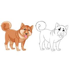 animal outline for shiba dog vector image