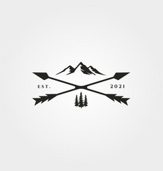 Arrow cross adventure outdoor logo vintage symbol vector