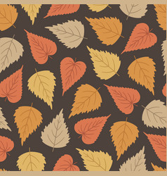 Autumn seamless pattern with colorful birch leaves vector
