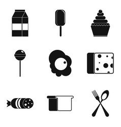 baby food icons set simple style vector image