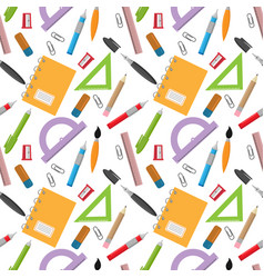 back to school pattern with stationery vector image