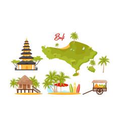 Bali symbols set famous and favorite vector