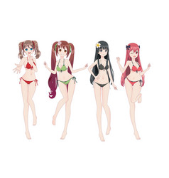 Beautiful anime manga girl in bikini vector