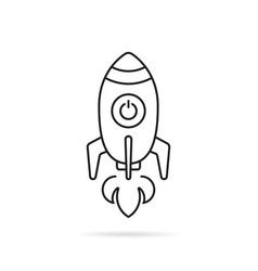 black thin line rocketship launch vector image