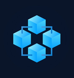 Blockchain technology blue symbol or logo vector
