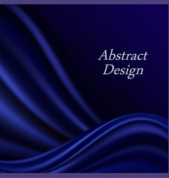 Blue silk wavy background deep curtain vector