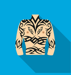 Body tattoo icon flate single tattoo icon from vector