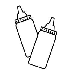 bottles sauce linear vector image