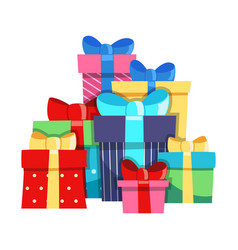 bunch gift boxes colorful gifts bows ribbons vector image