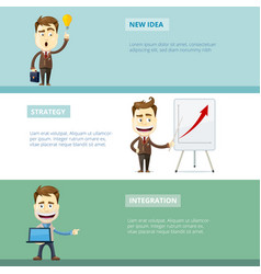 Business banners with characters e-business vector