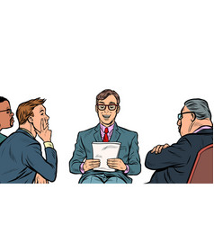 business presentation a man makes a report vector image