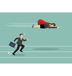 Business woman superhero fly pass his competitor vector