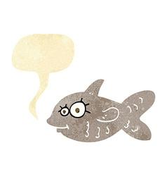 Cartoon happy goldfish with speech bubble vector
