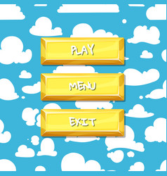 cartoon style buttons clouds in the sky vector image
