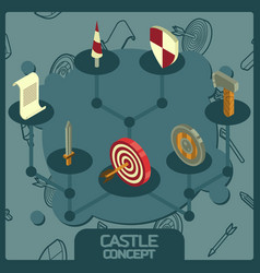 castle color concept isometric icons vector image