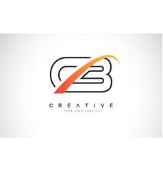 Cb c b swoosh letter logo design with modern vector