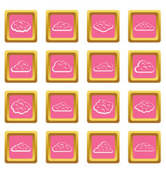 clouds icons pink vector image