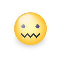 Confounded emoticon face zipper-mouth face vector