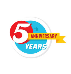 Creative emblem 5 th years anniversary five vector