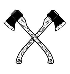 crossed lumberjack axes isolated on white vector image