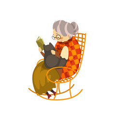 Cute granny sitting in a cozy rocking chair and vector