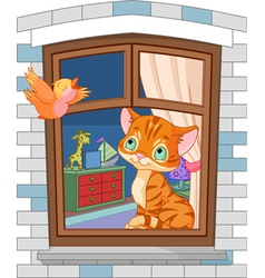 cute kitten sitting on window vector image